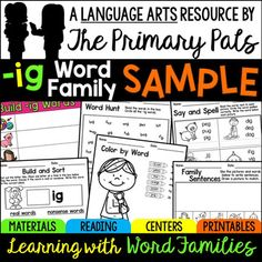 This IG word family resource has been created to provide you with a free sample of the IG Word Family pack to help you decide if the Learning with Word Families series is right for teaching word families in your classroom.The focus words in this pack are: big, dig, fig, jig, pig, wigThe -ig word family pack is included in the Short I Word Families Bundle with the other short i word family packs.