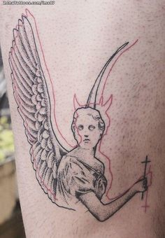 Tattoo of angels, demons, pointillism - tattoo tatuagem Unique Tattoo Designs, Unique Tattoos, Beautiful Tattoos, Small Tattoos, Design Tattoos, Temporary Tattoos, Flower Tattoos, Angel Tattoo Designs, Incredible Tattoos