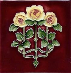 Art Tile, Art Nouveau Roses, Yellow, Red, and Green on Red