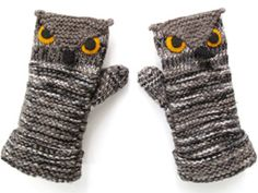 Ravelry: Owl Mittens pattern by Morehouse Designs Knitting Kits, Knitting Projects, Crochet Projects, Knitting Patterns, Start Knitting, Knitting Ideas, Crochet Mittens, Mittens Pattern, Knit Crochet