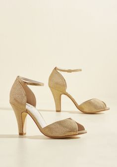 A fabulous meal is made even richer by these beautiful gold heels! This peep-toed pair by Chelsea Crew is lined in genuine leather, while its gilded, faux...