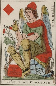 """French Revolution playing card issued 1793, Ace of Diamonds becomes """"Spirit of Commerce"""" with the motto """"Wealth"""""""