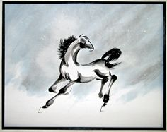 """""""Snow Colt"""" ink, colored pigments on rice paper by Tracie Griffith Tso of Reston, Va. See it also on CafePress: http://www.cafepress.com/+front_and_back_brushpainted_horse_tote_bag,138573646"""