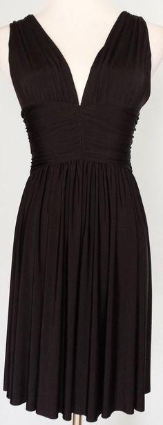 MODA INTERNATIONAL~Black Sleeveless V-Neck Ruched Dress~Size XS~EUC #ModaInternational #EmpireWaist #Cocktail