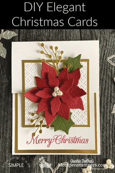 Stamped Christmas Cards, Homemade Christmas Cards, Christmas Cards To Make, Homemade Cards, Handmade Christmas, Holiday Cards, Christmas Crafts, Xmas Cards Handmade, Poinsettia Cards