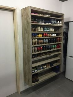 Creative shoe storage ideas diy rack wood giant made out of discarded pallets wooden plans free . wood shoe rack unfinished wooden crates from diy build . Shoe Storage Diy, Garage Storage, Storage Shelves, Storage Ideas, Outdoor Shoe Storage, Food Storage, Entryway Storage, Closet Shelves, Shoe Shelf Diy