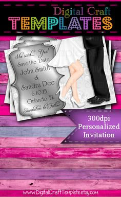 Personalized Printable Invitations   Save the Date   Bridal Shower   Wedding    #192