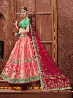 Pack Of 7 Piece JacquardWedding Wear Lehenga Choli Peach Colors, Pink Color, Silk Lehenga, Sari, Lehenga Collection, Suit Shop, Fabric Shop, Wedding Wear, Designer Wear