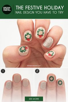 The holiday season is upon us, which means we're ready to spend time with family, shop for presents, and embrace festive Christmas nails. Follow these six easy steps to create this adorable holiday-inspired nail design.