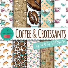 Watercolor Digital Paper Coffee Digital Paper pattern scrapbook supplies. Just got to have them - coffee and croissants. Beautiful watercolor digital paper pack for all the coffee lovers. This is a set of 10 high quality watercolor digital that include polka dot patterns, burlap textures, and beautiful and yummy coffee and croissant designs. These can be awesome for cards, invites, party supplies, wrapping paper and boxes. Aa well as any other design your creative mind may come up with…