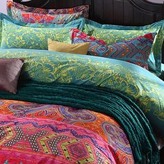 FADFAY Colorful Bohemian Bedding Set Bohemian Duvet Covers Fitted Sheet Set King . http://aluxurybed.com/product/fadfay-colorful-bohemian-bedding-set-bohemian-duvet-covers-fitted-sheet-set-king/
