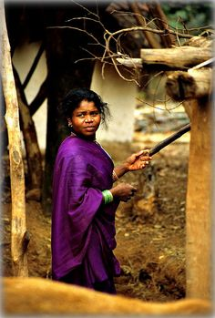 Work it, girl!  Purple Sari - Orissa