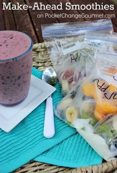Make-Ahead Fruit Smoothies :: With just a few minutes of prep, you can enjoy a fruit smoothie for in minutes. Recipe on PocketChangeGourm. Smoothie Prep, Juice Smoothie, Smoothie Drinks, Fruit Smoothies, Healthy Smoothies, Smoothie Recipes, Healthy Snacks, Healthy Recipes, Shake Recipes