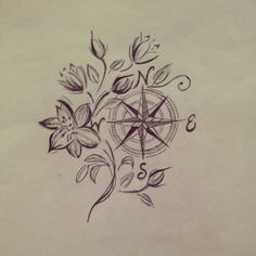 Flowers encompassing the compass rose