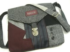 purses from mens suits | Recycled purse, black, maroon, mens suit coat