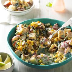 Grilled Southwestern Potato Salad Recipe -This salad is great with a grilled steak for a Tex-Mex meal, and most of it can even be prepared out in the backyard. Poblanos and cayenne make it pop.