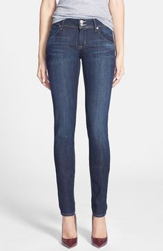 Free shipping and returns on Hudson Jeans 'Collin' Skinny Supermodel Jeans (Stella) at Nordstrom.com. Gentle whiskering through the hips and golden topstitching complement lightly faded ankle-grazing jeans cut in a lithe silhouette. Triangle-flap back pockets and a Union Jack patch provide signature brand touches.
