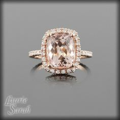 Cushion Cut Light Morganite and Diamond Engagement Ring in 14kt Rose Gold - LS2314