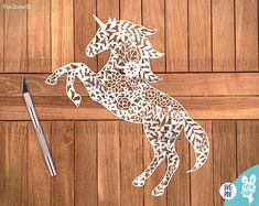 SVG / PDF Papercut modèle   Licorne   Cheval   Usage personnel et commercial   Couper vos propres   Papier découpé   pour Cricut   pour camée