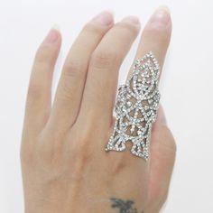 Long Silver Crystal Leaf Full Finger Ring For Women -  - Rings, www.looklovelust.com - 1