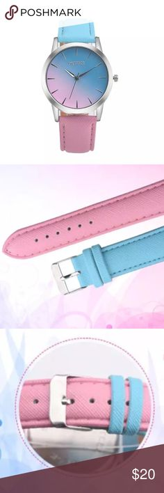 Pink Turquoise Ombre Over Sized Adjustable Watch Pink Turquoise Ombre Over Sized Adjustable Watch  . Perfect gift for the holidays. Oversized face watch  that isn't too big but just right. The perfect statement piece for any outfit . Spice up your work wear or going out. Stainless steel back. Vegan leather straps. 7 holes to adjust fit. Fast Shipping same or next business day. UrbanSophistica Accessories Watches