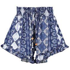 Boohoo Sam Ruffle Hem Tile Print Shorts ($20) ❤ liked on Polyvore