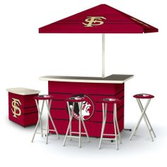NCAA Florida State Seminoles Portable Deluxe Tailgate Bar Stool Umbrella Table