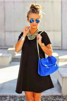 Neon Blue and Black. Very Lovely Combination of Clothing and Accessories. Love It