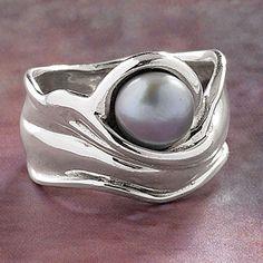 Gray Pearl Ring - New Age & Spiritual Gifts at Pyramid Collection