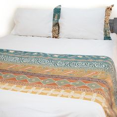 Duvet Covers ~ Artisans' Gallery Designs Queen $265.00 USD Duvet cover and pillowcases in 100% cotton material, inlaid with beautiful hand-painted fabric strip in Tribal Textiles' flagship Artisan's Gallery design, featuring a stunning earthy green and brown colourway. #TribalArtisansGallery #TribalTextiles