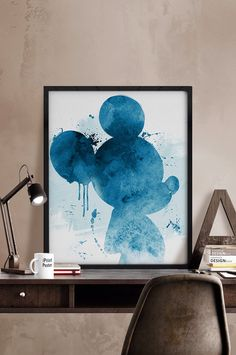 Mickey watercolor poster, watercolor print, Watercolor Mickey Mouse, Disney…
