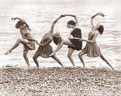 Four woman dancing at the water's edge. circa 1940 Picture #: 543H Copyright 2003 - Photographs Of Old America (broadstairs with carol)!
