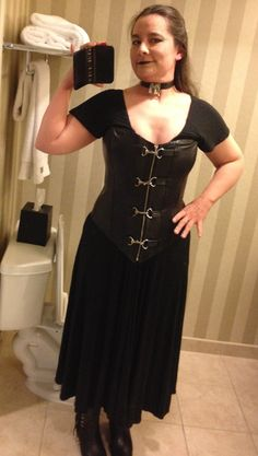 "Dressed for the Bookie Awards and the BDSM Writers & Readers Meetup. The first time I tried on a corset, the corset maker laced me up and then said, ""Now let me introduce you to the Mirror of Happiness!"" This is my Mirror Of Happiness face. :-)"