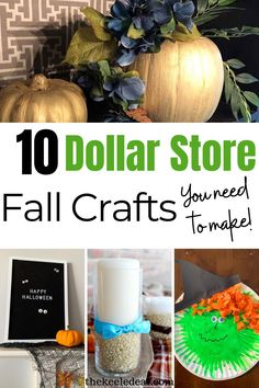 10 Dollar Store Fall Crafts you need to make this year! Easy Fall Crafts, Fall Diy, Cute Crafts, Diy Crafts For Kids, Sensory Activities Toddlers, Activities For Boys, Spring Activities, Wooden Pumpkins, Fall Pumpkins