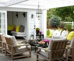 Perfect out door patio with Pergola and comfy seating from bhg.com!