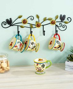 Sets of 4 Mugs with Wall Rack | LTD Commodities