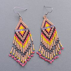 Long Native American  Seed Bead Earrings in peach by Anabel27shop, $19.00