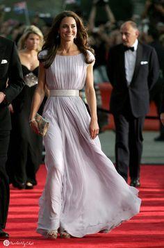 Kate Middleton, Duchess of Cambridge wearing silk chiffon layered lavender dress