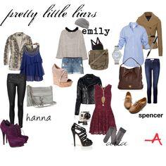 <3 Hanna's blue top, Em's sport bra, Aria's camera, Spencer's dark blue jeans