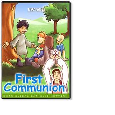 FIRST COMMUNION - DVD  Mischievous boys, who mistakenly believe that a pirate's treasure is hidden somewhere in the village church, learn from an orphan girl that the greatest treasure is in the Tabernacle. Jesus appears to the children, which provides the motivation to the boys to prepare for First Communion. 1 disc. 30 min.