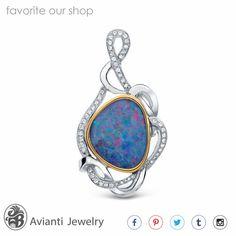 Pendant Diamond And Opal Slider Opal and Diamond by AviantiJewelry