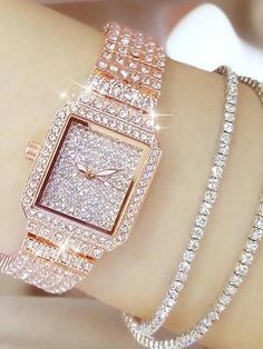 Women's Luxury Watches Diamond Watch Gold Watch Japanese Quartz Stainless Steel Silver / Gold / Rose Gold 30 m Casual Watch Analog Ladies Charm Fashion Bling Bling - Gold Silver Rose Gold Fancy Watches, Trendy Watches, Casual Watches, Luxury Watches, Bling Bling, Bridal Jewelry Vintage, Gold Diamond Watches, Beautiful Watches, Luxury Jewelry
