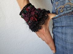 freeform crochet cuff - Asclepias Incarnata: bracelet with burgundy purple red pink and green beaded flowers and black crochet lace by irregularexpressions