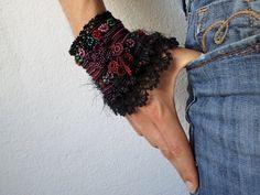 freeform crochet cuff  Asclepias Incarnata by irregularexpressions
