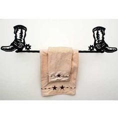Western Towel Bar with Cowboy Boots
