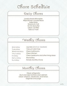 Chore Schedule. Is is uncommon that dusting would be a weekly chore for me? Our house gets so dusty! I would also change Saturday to monthly chore day with Sunday as a day of rest.