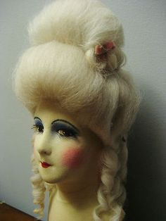 Old Marie Antoinette genuine mohair WIG for French silk face BOUDOIR BED DOLL