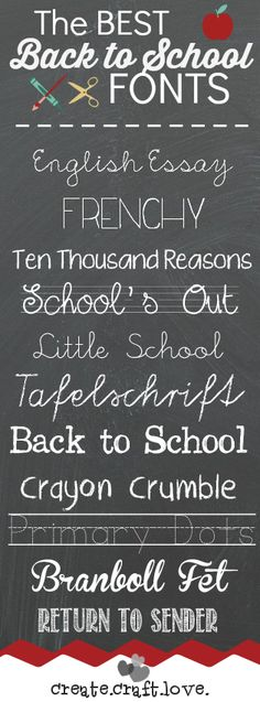 Back to School Fonts via createcraftlove.com
