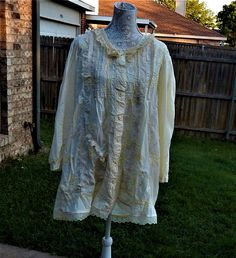 Pale Yellow Cotton Altered Blouse  BoHo style shabby chic