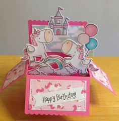 Birthday Card by - Cards and Paper Crafts at Splitcoaststampers Card In A Box, Pop Up Box Cards, Cat Cards, Kids Cards, Handmade Birthday Cards, Birthday Greeting Cards, Unicorn Birthday Cards, Unicorn Cards, Tarjetas Diy